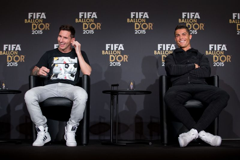 Cristiano Ronaldo and Lionel Messi at the FIFA Ballon d