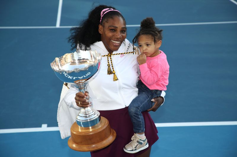 Serena Williams with her daughter Alexis Olympia after winning the ASB Classic at the start of the year