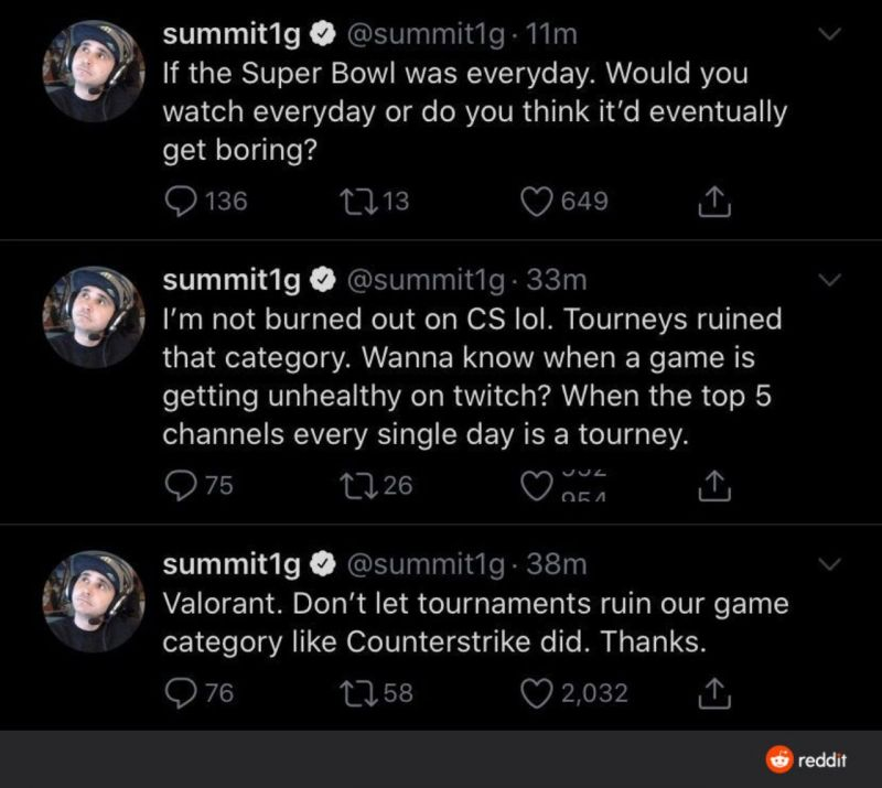 His recent tweets on Valorant and the various tournaments