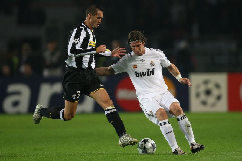 Ramos and Chiellini in a 2008 UCL fixture