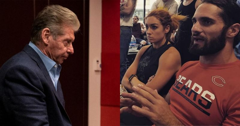 Vince McMahon, Becky Lynch, and Seth Rollins.