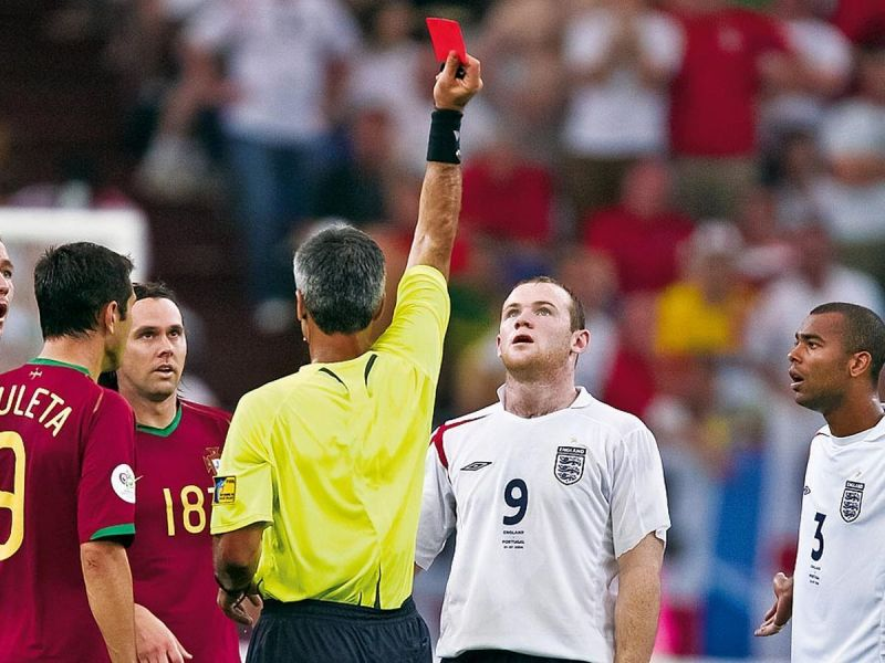 Wayne Rooney received his marching orders for a foul on Ricardo Carvalho.