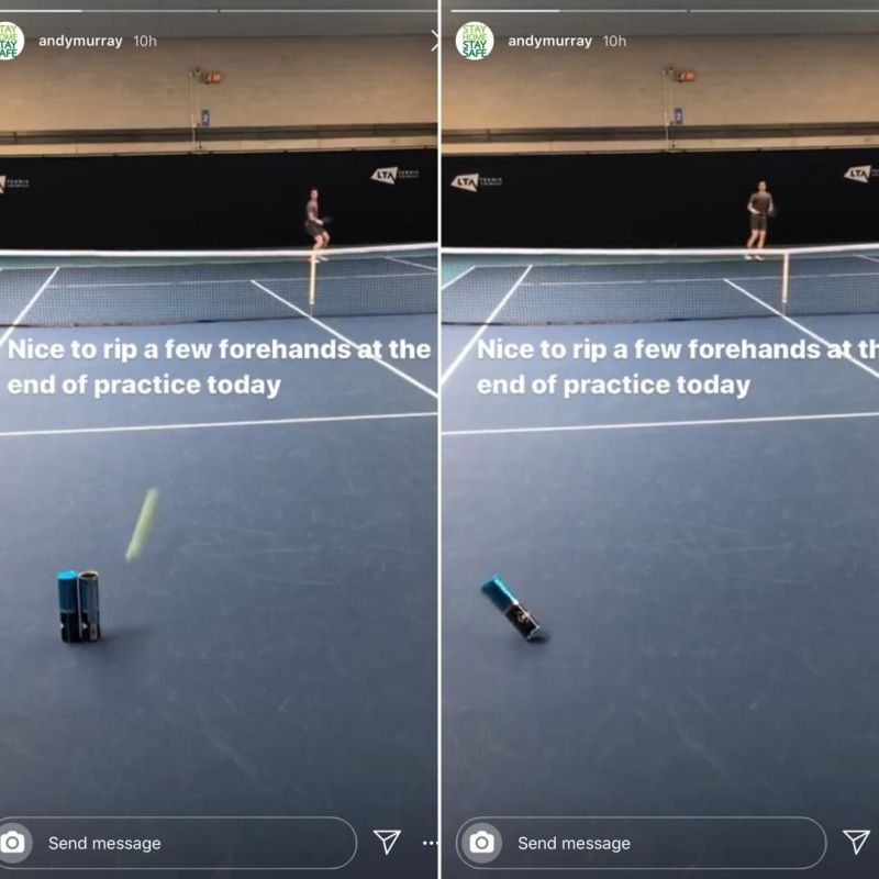 Andy Murray showed off some incredible forehand skills on his Instagram story