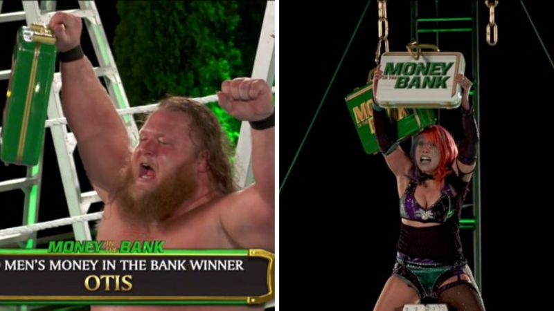 Otis and Asuka win the Money in the Bank briefcases
