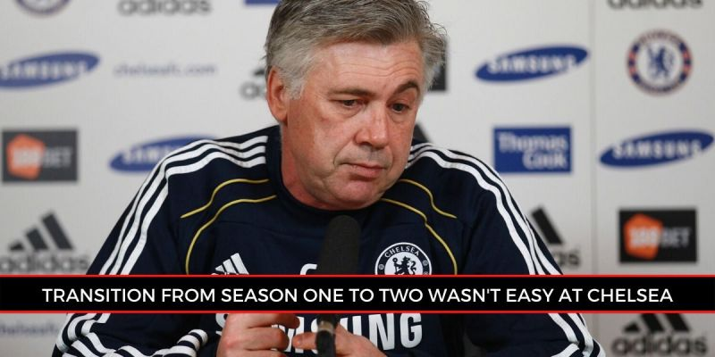 Ancelotti at a press conference during his Chelsea stint