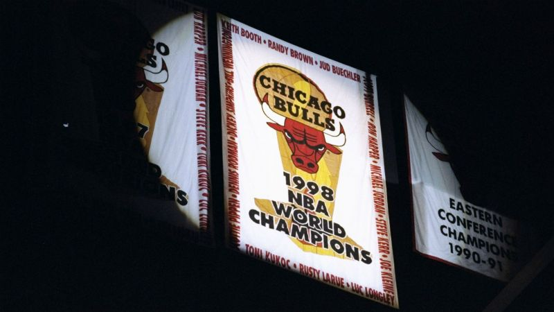 A banner celebrating the Chicago Bulls