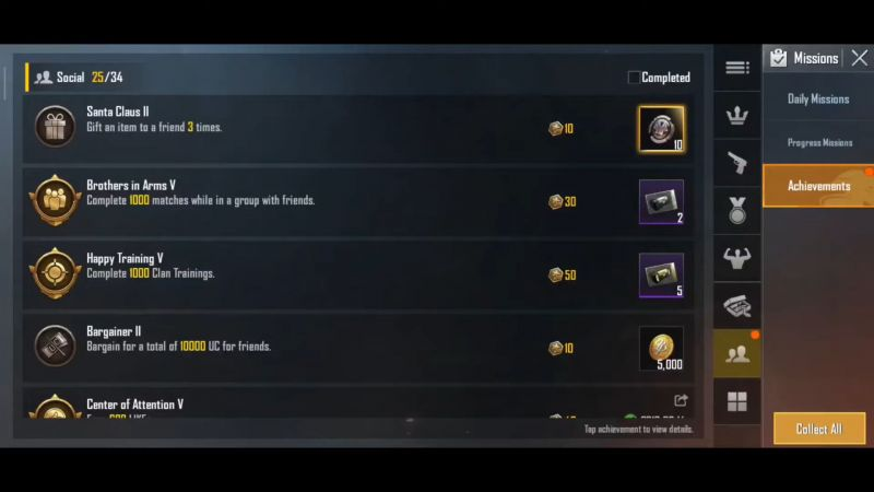 Achievements section