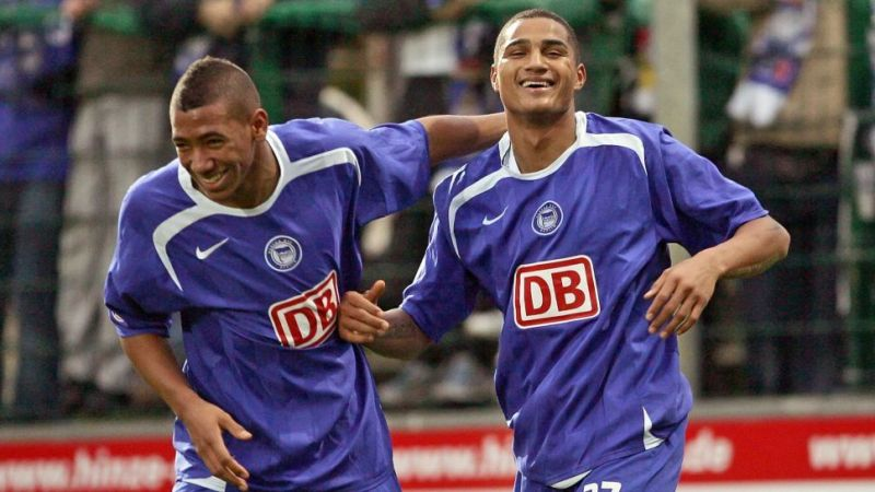 Jerome and Kevin-Prince Boateng playing for Hertha BSC