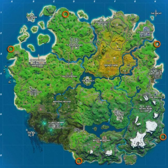Locations of spots to visit in order to complete the mission (Courtesy:Epic Games)