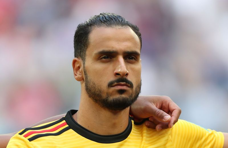 Nacer Chadli lines up ahead of the FIFA World Cup 3rd place match against England