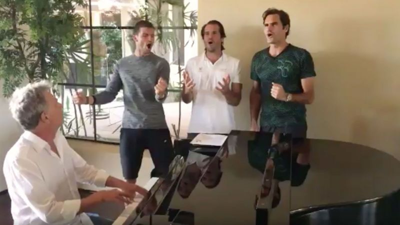 Roger Federer, Grigor Dimitrov and Tommy Haas at the 2017 Indian Wells Tournament.