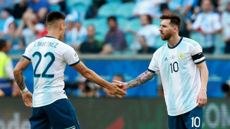 Lautaro Martinez and Lionel Messi - cropped