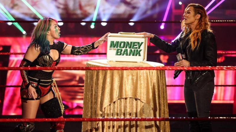 Asuka and Becky Lynch during their RAW segment.