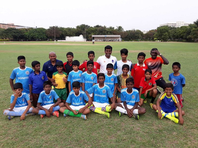 Raman Vijayan at one of his football academies
