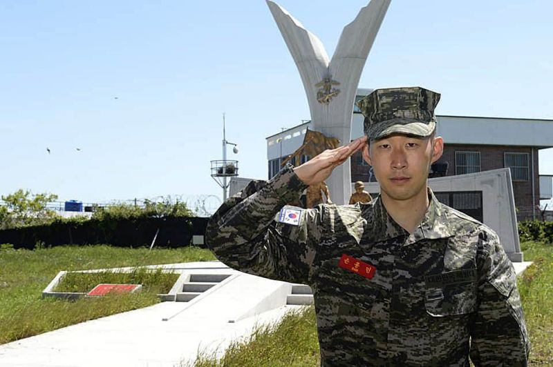 Son salutes after coompleting his military training in South Korea earlier this month