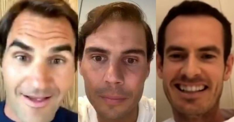 Roger Federer, Rafael Nadal and Andy Murray during a recent video chat.