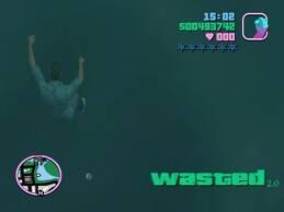 Drowning as a result of getting in the water in GTA: Vice City