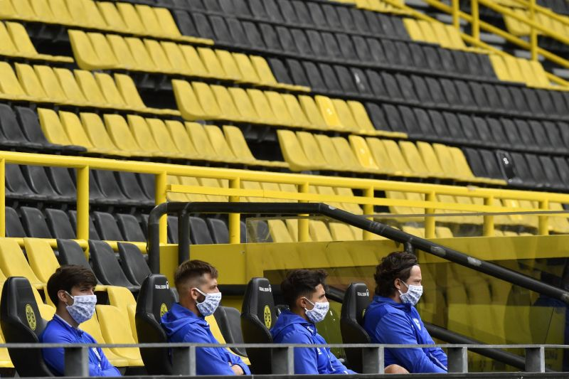 There was a surreal atmosphere at the Signal Iduna Park with social distancing between substitutes