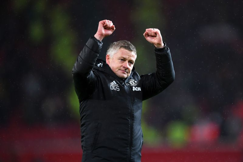 Solskjaer celebrates after winning against City in the recent Manchester Derby