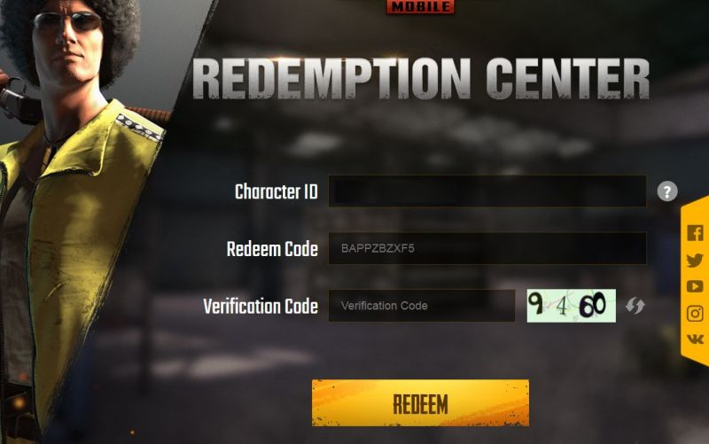Fill the redeem code in the redemption center (Credits: PUBG Mobile)