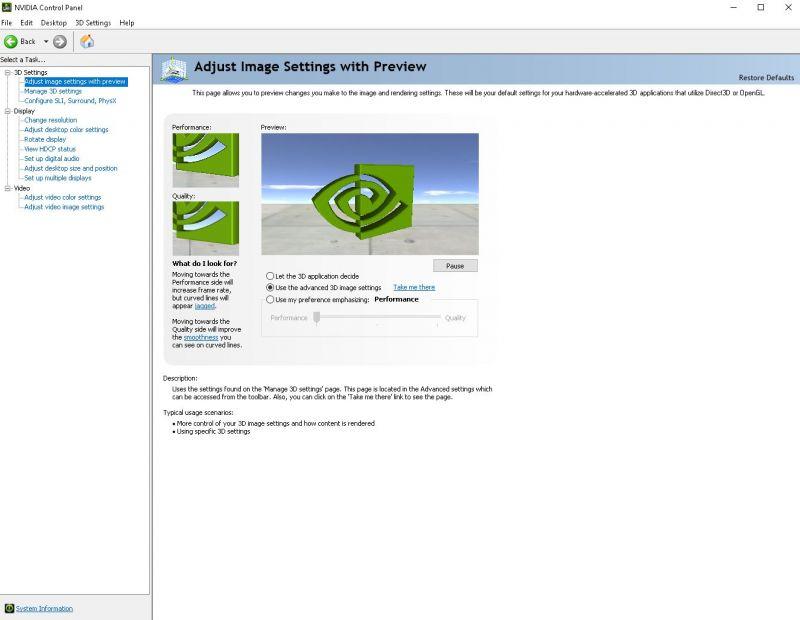 Accessing the NVIDIA settings