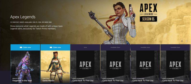 The Apex Legends Twitch Prime Loot Site