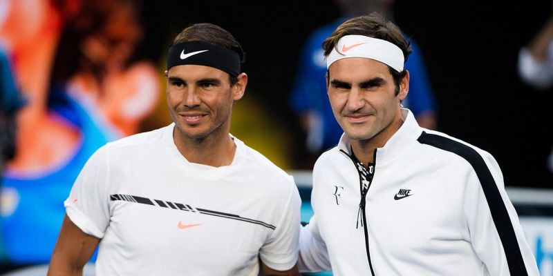Rafael Nadal (left) and Roger Federer