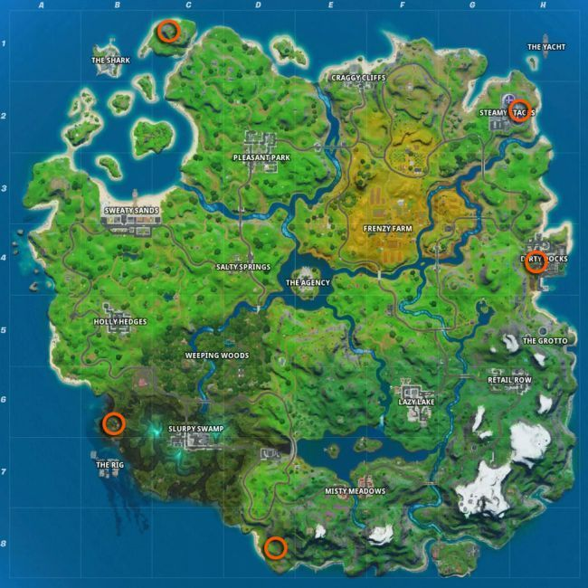 Locations of the Golden Wrenches (Image Courtesy: Epic Games)