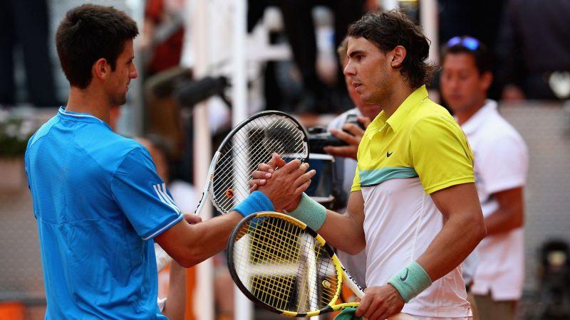 Novak Djokovic and Rafael Nadal shake hands after the match