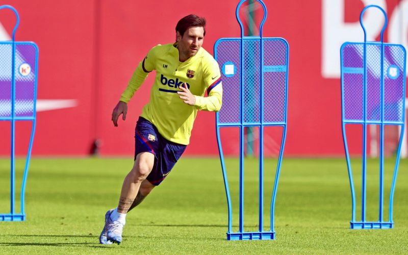 Lionel Messi returns to training for Barcelona as La Liga return edges closer. PC: FC Barcelona via Twitter