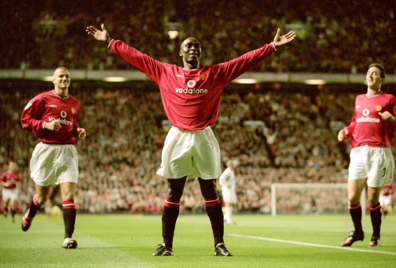 Andy Cole celebrates after leading his side to a 6-0 win