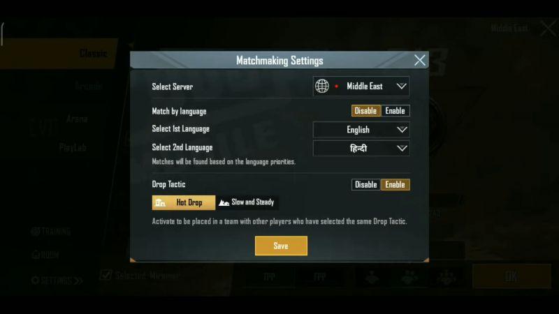 Matchmaking Options