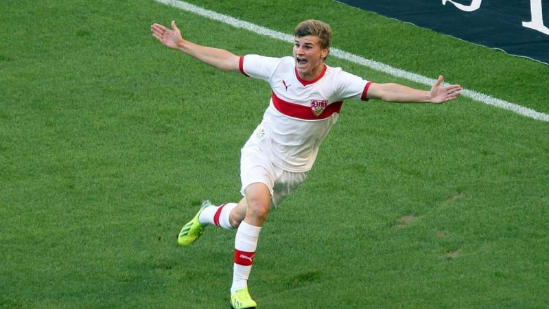 Timo Werner playing in the colors of VfB Stuttgart