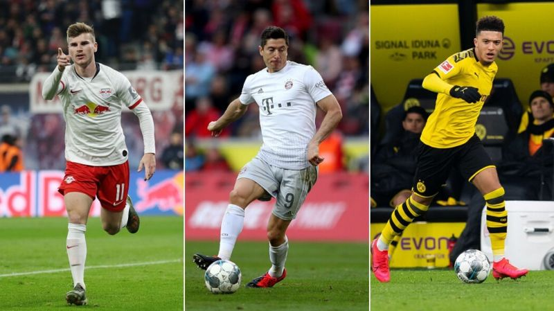 Timo Werner (left), Robert Lewandowski (centre), & Jadon Sancho (right) - Bundesliga
