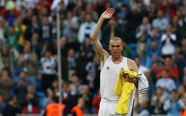 Zinedine Zidane during his last match at the Santiago Bernabéu