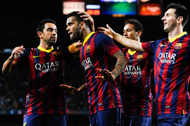Neymar (2nd from right) and Xavi (far left) enjoyed great success together.