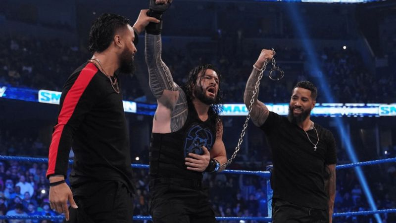 The Bloodline (Roman Reigns, Jimmy Uso & Jey Uso) reuniting on the January 3rd edition of SmackDown
