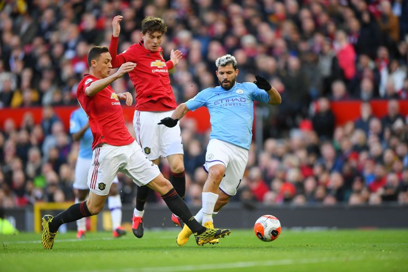 Matic and Aguero vying for the ball in a recent Manchester Derby