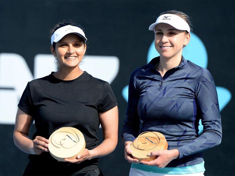 Sania Mirza poses with the 2020 Hobart title with doubles partner Nadiia Kichenov
