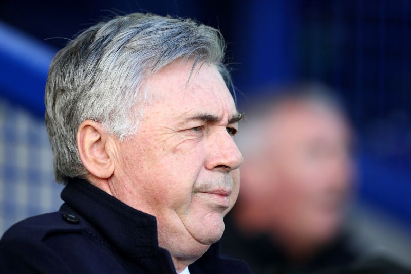 Ancelotti at a recent game between Everton and Manchester United
