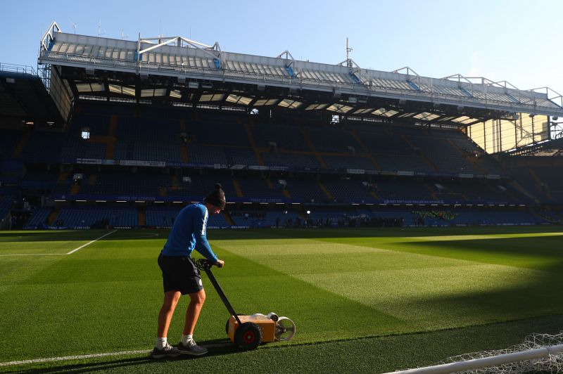 Stamford Bridge being prepared ahead of an upcoming match