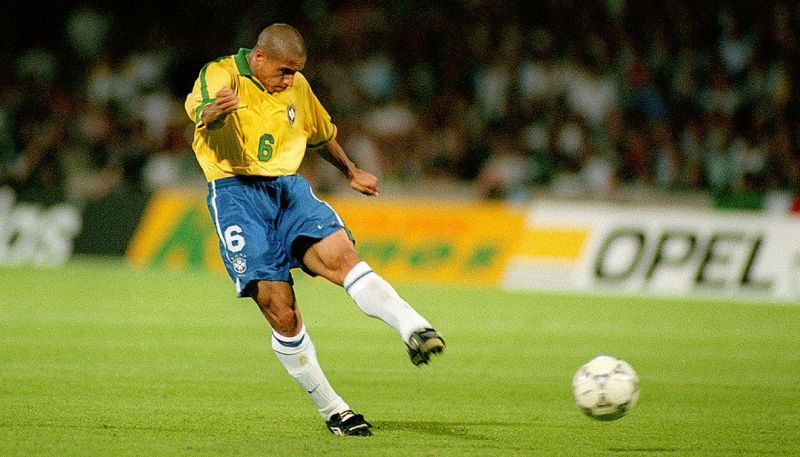 Roberto Carlos scoring the legendary free-kick against France in 1997