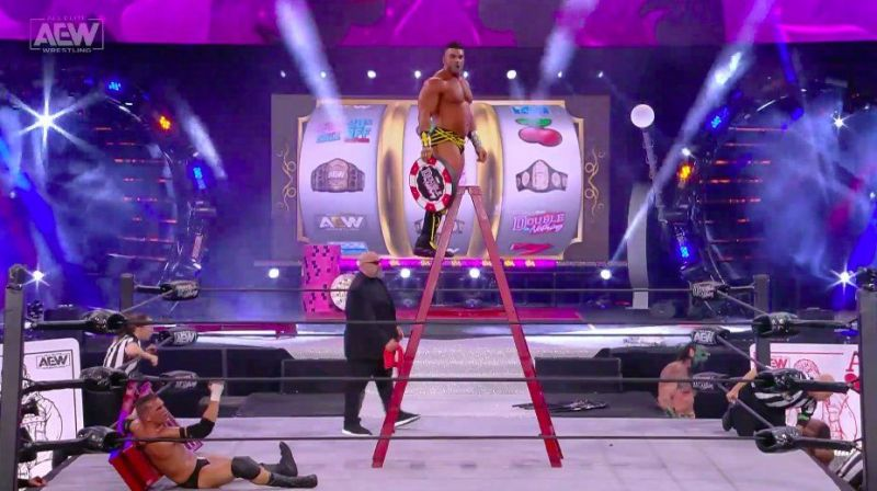 Brian Cage made his AEW debut by revealing himself as the mystery entrant in the Casino Ladder match.