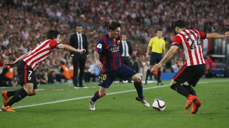 Lionel Messi took on half of the Athletic Bilbao team to score a sensational solo goal in 2015
