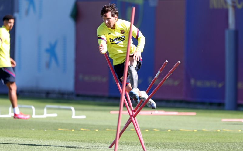 Lionel Messi was pictured in training today as Barcelona players were allowed to train in groups of 10