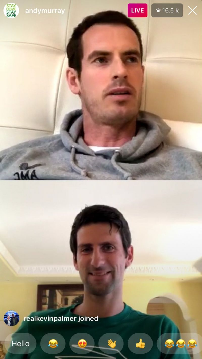 Andy Murray and Novak Djokovic during a video chat