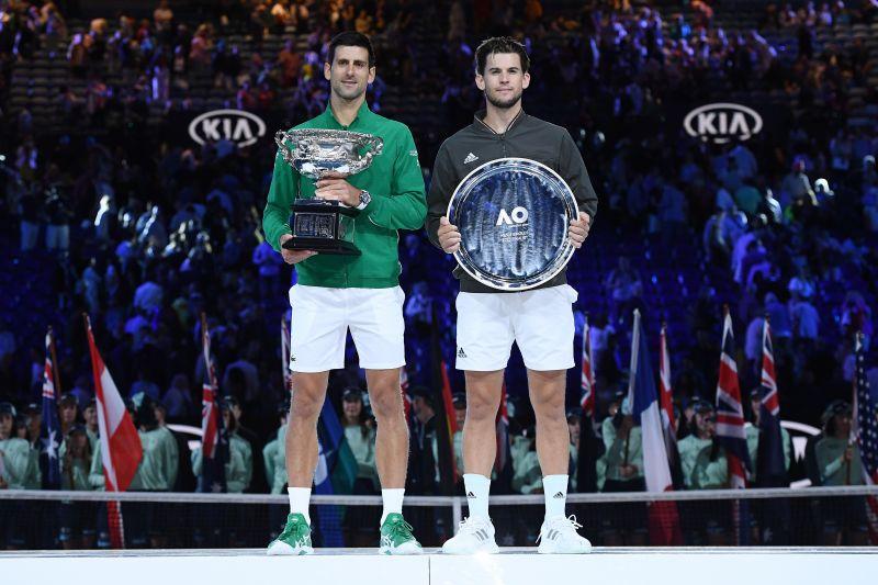Dominic Thiem (right) with Novak Djokovic after the 2020 Australian Open final