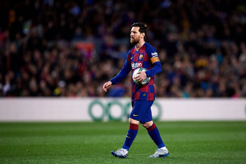 Messi prepares to take a penalty in a recent game against Real Sociedad.