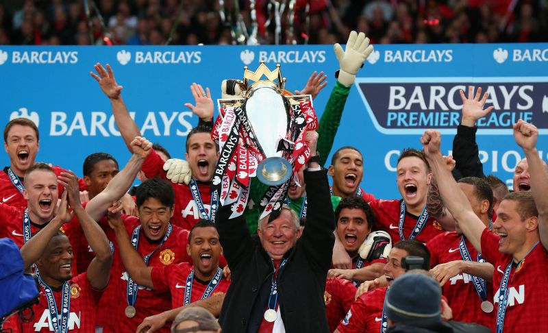 Sir Alex Ferguson lifts the title with Manchester United (Image courtesy: Premier League)