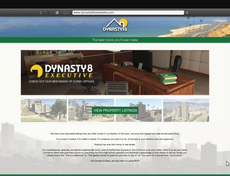 Go to the Dynasty 8 Real Estate website to carry out the transaction (Image: GTA Wiki - Fandom)